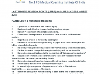 LAST MINUTE REVISION POINTS (LMRP) for SURE SUCCESS in NEET 2018