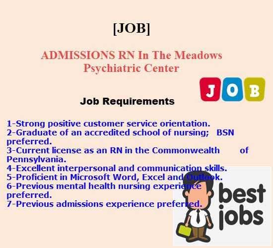 ADMISSIONS RN In The Meadows