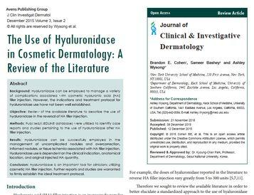 The Use of Hyaluronidase in Cosmetic Dermatology [PDF