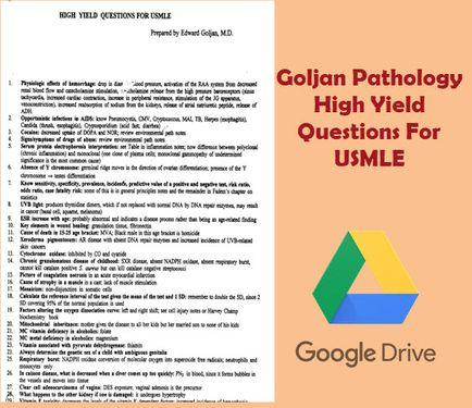 Goljan Pathology High Yield Questions For USMLE