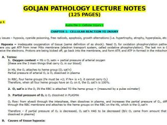 Goljan Pathology Lecture Notes
