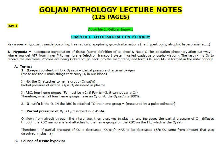 Goljan Pathology Lecture Notes